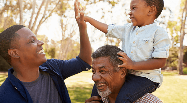 Three generations: grandfather, father and son stock photo